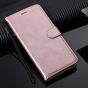 cheap iPhone Screen Protectors-Case For Huawei Huawei Y9 (2018)(Enjoy 8 Plus) / Huawei Y7 Prime(Enjoy 7 Plus) / Huawei Y6 (2018) Wallet / Card Holder / with Stand Full Body Cases Solid Colored Hard PU Leather