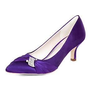 cheap Wedding Shoes-Women's Wedding Shoes Pumps Kitten Heel Pointed Toe Rhinestone Satin Minimalism Fall / Spring & Summer Dark Purple / Champagne / Ivory / Party & Evening