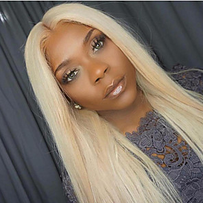 cheap Synthetic Lace Wigs-Human Hair Lace Front Wig Middle Part Gaga style Brazilian Hair Straight Blonde Wig 130% Density with Baby Hair 100% Virgin Unprocessed Bleached Knots Women's Long Others Human Hair Lace Wig EEWigs