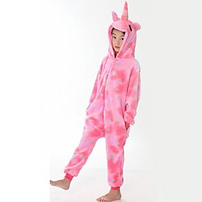 cheap Anime Costumes-Kid's Kigurumi Pajamas Flying Horse Onesie Pajamas Flannel Fabric Pink Cosplay For Boys and Girls Animal Sleepwear Cartoon Festival / Holiday Costumes