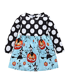 cheap Baby Girls'  Dresses-Baby Girls' Basic Polka Dot / Print / Halloween Long Sleeve Cotton Dress Light Blue