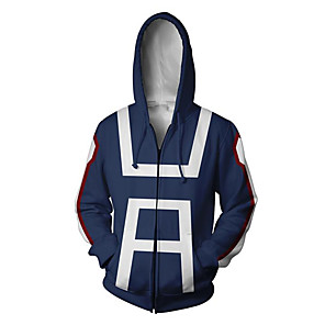 cheap Everyday Cosplay Anime Hoodies & T-Shirts-Inspired by My Hero Academia Boko No Hero Midoriya Izuku Ochaco Uraraka Todoroki Shoto Hoodie Terylene Cartoon Stylish Hoodie For Unisex