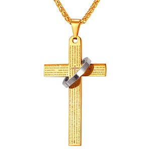 cheap Pendant Necklaces-Men's Pendant Necklace Classic Cross Circle Cross Classic Vintage faith Stainless Steel Black Blue Gold Silver 55 cm Necklace Jewelry 1pc For Gift Daily