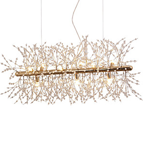 cheap Globe Design-9-Light Electroplated Dining Room Chandeliers Firework LED Light Stainless Steel Crystal Island Pendant Lighting With 9 Lights G9 Bulb Base