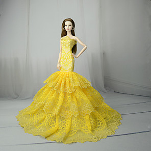 cheap Dolls Accessories-Doll Dress Dresses For Barbiedoll Yellow Tulle Lace Cotton Blend Dress For Girl's Doll Toy / Kids