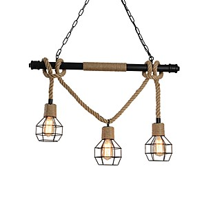 cheap Pendant Lights-3-Light 3 Head Metal Cage Rustic Metal Water Pipe Hemp Rope Pendant Light Living Room Dining Room Chandelier