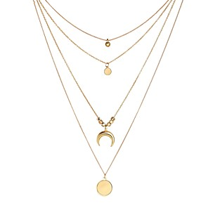 cheap Necklaces-Women's Layered Necklace Layered Floating Moon Crescent Moon double horn Ladies Fashion Gypsy Alloy Gold 34+6 cm Necklace Jewelry 1pc For Wedding Masquerade Engagement Party Prom Bikini Promise