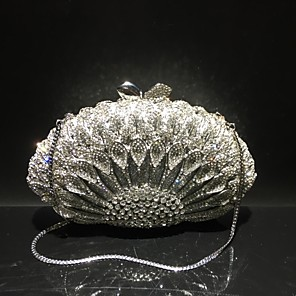 cheap Clutches & Evening Bags-Women's Crystals / Hollow-out Alloy Evening Bag Solid Color Gold / Silver / Fall & Winter