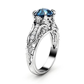 cheap Rings-Women's Ring Synthetic Sapphire 1pc Silver Copper Platinum Plated Imitation Diamond Four Prongs Ladies Trendy Korean Evening Party Date Jewelry Hollow Out Flower Petal Lovely