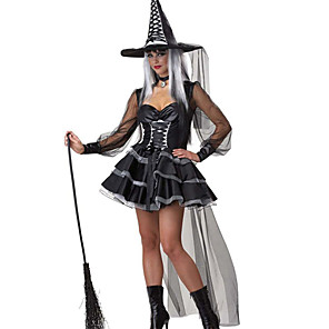 cheap Men's & Women's Halloween Costumes-Witch Uniforms Cosplay Costume Party Costume Costume Fancy Costume Adults' Highschool Women's Cosplay Christmas Halloween Carnival Masquerade Festival / Holiday Spandex Polyester Black Female
