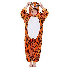 cheap Kigurumi Pajamas-Kid's Kigurumi Pajamas Tiger Onesie Pajamas Flannel Fabric Orange Cosplay For Boys and Girls Animal Sleepwear Cartoon Festival / Holiday Costumes / Stripes