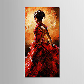 cheap Abstract Paintings-Oil Painting Hand Painted - Abstract People Modern Stretched Canvas