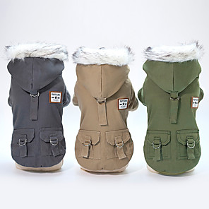 cheap Dog Clothes-Dog Coat Hoodie Solid Colored Classic Vintage Minimalist Keep Warm Outdoor Winter Dog Clothes Dark Green Khaki Gray Costume Cotton S M L XL XXL