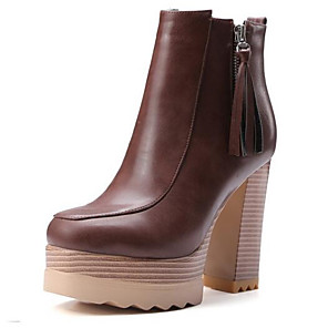 cheap Wedding Shoes-Women's Fashion Boots Microfiber Fall Boots Chunky Heel Closed Toe Booties / Ankle Boots Brown / Camel / Khaki