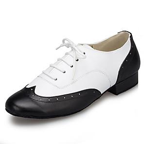 cheap Ballroom Shoes & Modern Dance Shoes-Men's Modern Shoes / Ballroom Shoes Patent Leather Sneaker Splicing Thick Heel Dance Shoes Black-white