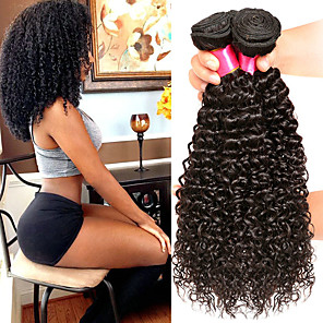 cheap 4 Bundles Human Hair Weaves-4 Bundles Hair Weaves Brazilian Hair Curly Human Hair Extensions Remy Human Hair 100% Remy Hair Weave Bundles 400 g Natural Color Hair Weaves / Hair Bulk Human Hair Extensions 8-28 inch Natural Color