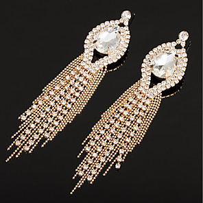 cheap Earrings-Women's AAA Cubic Zirconia Drop Earrings Classic Tassel Rhinestone Earrings Jewelry Gold / Silver For Wedding Party 1 Pair