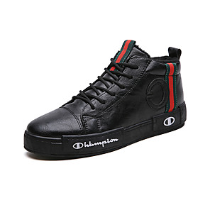 cheap Men's Sneakers-Men's Comfort Shoes Faux Leather Spring / Fall & Winter Casual / Preppy Sneakers Warm Black / Red / Black / Green / Outdoor