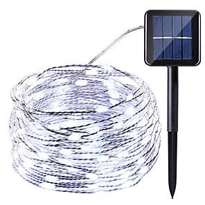tanie Taśmy świetlne LED-HKV 10 m Łańcuchy świetlne 100 Diody LED 1 zestaw Ciepła biel Zimna biel Czerwony Wodoodporny Na energię słoneczną Impreza Zasilanie solarne