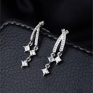 cheap Earrings-Women's Clear Cubic Zirconia Ear Piercing Drop Earrings Dangle Earrings Long Crossover Star Ladies Elegant Korean Sweet Platinum Plated Imitation Diamond S925 Sterling Silver Earrings Jewelry Silver