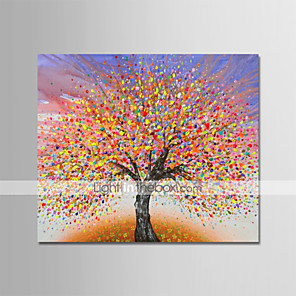 cheap Abstract Paintings-Oil Painting Hand Painted Abstract Floral / Botanical Modern Stretched Canvas With Stretched Frame