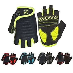 cheap Phone Mounts & Holders-Bike Gloves / Cycling Gloves Mountain Bike Gloves Mountain Bike MTB Road Bike Cycling Breathable Anti-Slip Shockproof Sweat-wicking Fingerless Gloves Half Finger Sports Gloves SBR Lycra Mesh Black