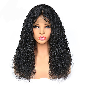 cheap Human Hair Wigs-Remy Human Hair Lace Front Wig Deep Parting Side Part style Brazilian Hair Curly Wig 250% Density with Baby Hair Best Quality Hot Sale Thick Women's Long Human Hair Lace Wig Premierwigs