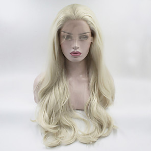 cheap Synthetic Lace Wigs-Synthetic Lace Front Wig Wavy Body Wave Free Part Lace Front Wig Blonde Long Blonde Synthetic Hair 18-26 inch Women's Adjustable Heat Resistant Elastic Blonde