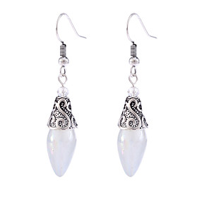 cheap Earrings-Women's Moonstone Drop Earrings Hanging Earrings Vintage Style Classic Flower Shape Teardrop Ladies Vintage Sweet Elegant everyday Earrings Jewelry Silver For Birthday Date 1 Pair