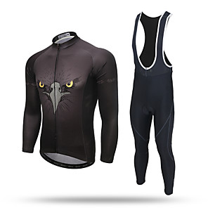 cheap Cycling Jersey & Shorts / Pants Sets-XINTOWN Men's Long Sleeve Cycling Jersey with Bib Tights Black Eagle Bike Pants / Trousers Jersey Bib Tights Breathable 3D Pad Reflective Strips Back Pocket Limits Bacteria Winter Sports Polyester