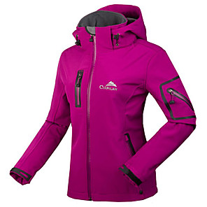 cheap Softshell, Fleece & Hiking Jackets-Cikrilan Women's Hiking Jacket Hiking Softshell Jacket Outdoor Winter Waterproof Thermal Warm Breathable Waterproof Zipper Softshell Jacket Winter Jacket Top Fleece Waterproof Rain Proof Black Purple