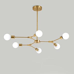 cheap Spot Lights-6-Light Electroplated Northern Europe Chandelier 6-Head Modern Metal Molecules Pendant Lights Living Room Dining Room Bedroom
