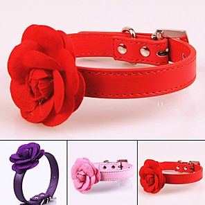cheap Dog Collars, Harnesses & Leashes-Dog Collar Portable Retractable For Dog / Cat Casual / Daily Solid Colored Flower / Floral PU Leather / Polyurethane Leather Purple Red