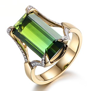 cheap Fine Jewelry-Women's Ring Emerald 1pc Green Resin Copper Rhinestone Round Geometric Cuboid Ladies Stylish Luxury Gift Jewelry Vintage Style Solitaire Cocktail Ring Mood