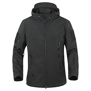 cheap Softshell, Fleece & Hiking Jackets-Men's Hiking Softshell Jacket Winter Outdoor Thermal / Warm Waterproof Windproof Breathable Fleece Softshell Jacket 3-in-1 Jacket Hunting Climbing Camping / Hiking / Caving Black Green Grey S M L XL
