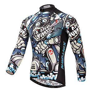 cheap Cycling Jersey & Shorts / Pants Sets-XINTOWN Men's Long Sleeve Cycling Jersey Winter Fleece Elastane White Bike Jersey Top Mountain Bike MTB Road Bike Cycling Breathable Quick Dry Ultraviolet Resistant Sports Clothing Apparel / Stretchy