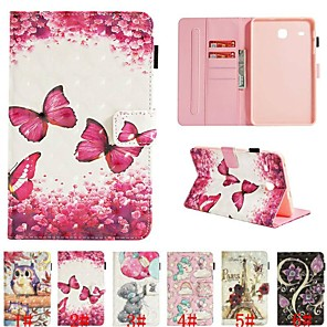 cheap Samsung Case-Case For Samsung Galaxy Tab E 8.0 / Tab A 7.0 Card Holder / with Stand / Flip Full Body Cases Animal / 3D Cartoon / Flower Hard PU Leather