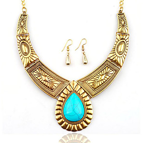 cheap Jewelry Sets-Women's Turquoise Drop Earrings Statement Necklace Vintage Style Ladies Stylish Unique Design Oversized western style Silver Plated Gold Plated Earrings Jewelry Gold / Silver For Gift Night