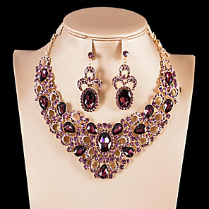 cheap Jewelry Sets-Women's Gemstone High End Crystal Bridal Jewelry Sets Hollow Out Flower Ladies Luxury Unique Design European Indian Gold Plated Earrings Jewelry White / Purple / Champagne For Wedding Party Prom