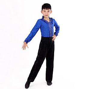 cheap Latin Dancewear-Latin Dance Top Ruffles Polka Dot Performance Long Sleeve High Polyester