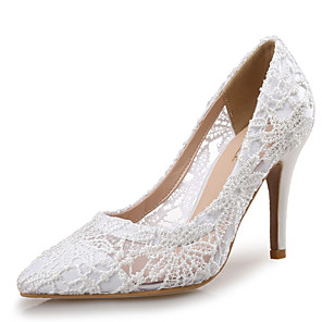 cheap Wedding Shoes-Women's Wedding Shoes Spring Fall Pumps Pointed Toe Wedding Party & Evening Lace White / Fuchsia / Blue
