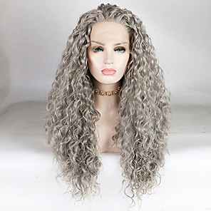 cheap Synthetic Lace Wigs-Synthetic Lace Front Wig Water Wave Loose Curl Free Part Lace Front Wig Long Grey Synthetic Hair 18-26 inch Women's Fashionable Design Soft Adjustable Gray