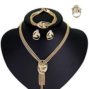 cheap Jewelry Sets-Women's Cubic Zirconia Necklace Earrings Bracelet Lariat Statement Ladies Stylish European Elegant Italian Rhinestone Gold Plated Earrings Jewelry Gold For Wedding Party Engagement Party Cocktail