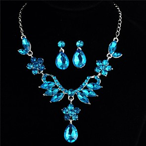 cheap Jewelry Sets-Women's Blue Cubic Zirconia Stud Earrings Pendant Necklace Trace Flower Pear Ladies Romantic Sweet Elegant Rhinestone Earrings Jewelry Light Purple / Blue For Gift Date 1 set