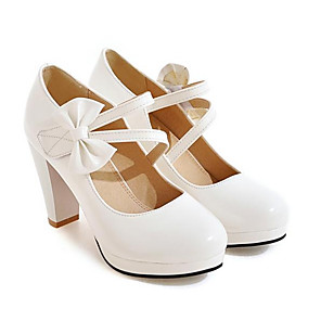 cheap Women's Heels-Women's Pumps Nappa Leather / Patent Leather Spring Heels Stiletto Heel White / Black / Red / Daily