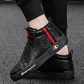 cheap Men's Sneakers-Men's Comfort Shoes Leather Winter Sporty / Casual Sneakers Warm Black / Green