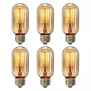 cheap LED Smart Home-6pcs Dimmable T45 40W E27 Warm White Color Decorative Retro Incandescent Vintage Edison Light Bulbs AC220-240V