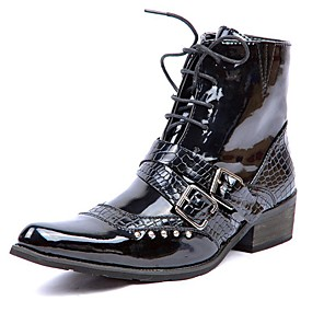 cheap Men's Slip-ons & Loafers-Men's Fashion Boots Patent Leather Winter Casual / British Boots Warm Mid-Calf Boots Black / Office & Career / Combat Boots