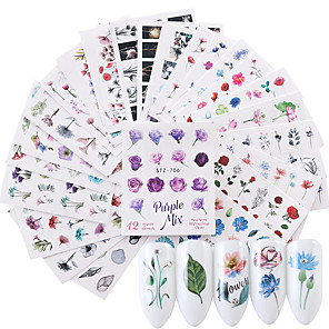 cheap Rhinestone & Decorations-24 pcs Water Transfer Sticker Flower Series / Flower nail art Manicure Pedicure New / High quality, formaldehyde free Sweet Lolita / Sweet Christmas / Party / Evening / Masquerade
