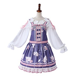cheap Movie & TV Theme Costumes-Sweet Lolita Casual Lolita Dress Girls' Female Japanese Cosplay Costumes Light Purple Pattern Bowknot Lace Juliet Sleeve Long Sleeve Knee Length